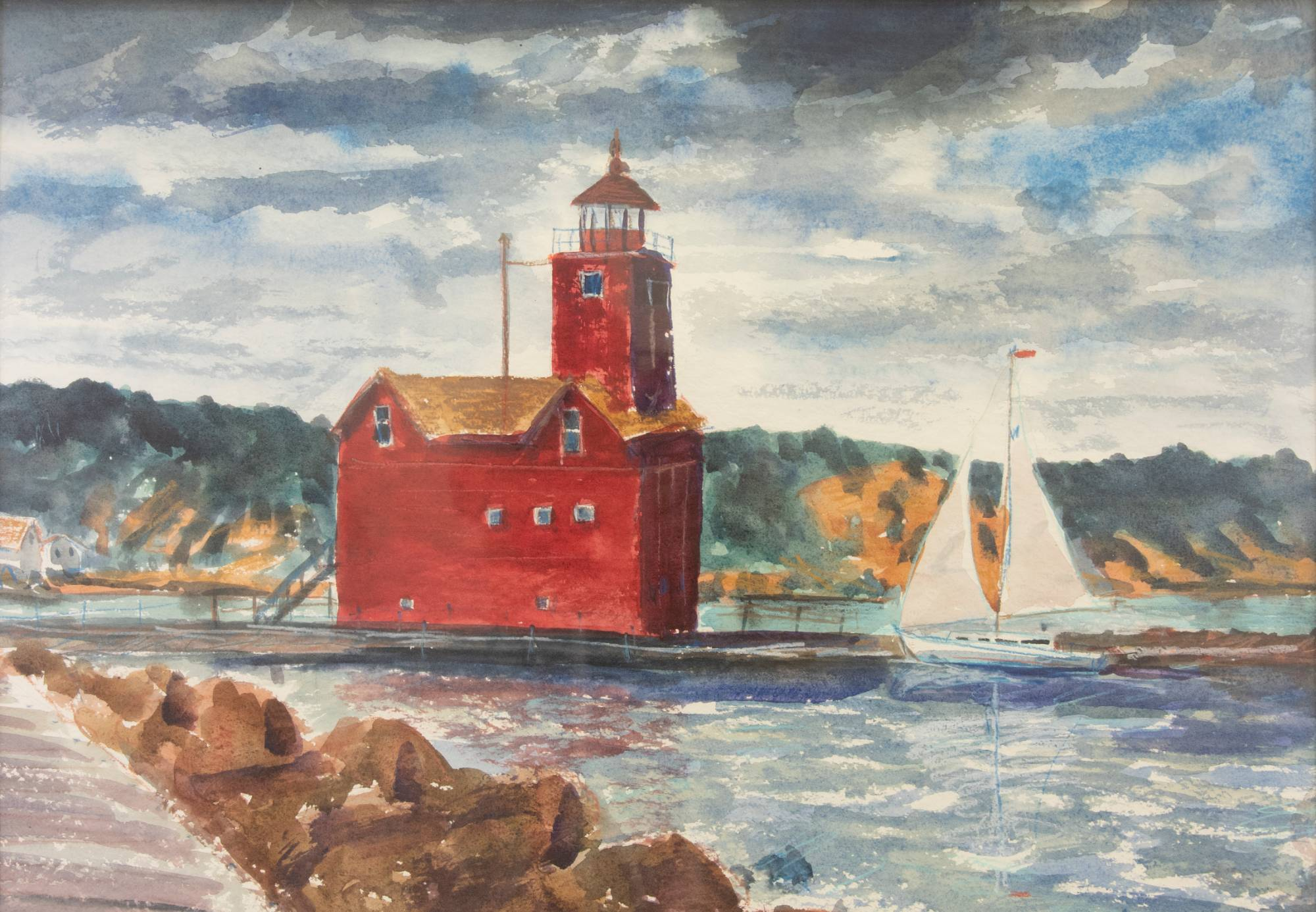 An art piece with a red lighthouse and a sailboat in the water.
